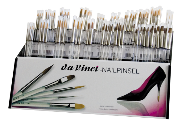 Nail art sets and counter displays assortment nail brushes kolinsky red sable and synthetic brushes da vinci series 4099 nail brush counter total 120 brushes prinsesfo Image collections